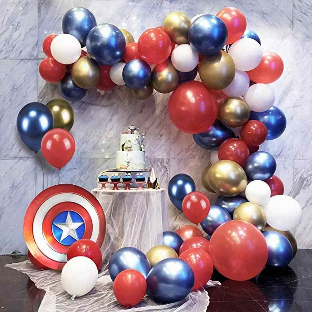 85 Pcs Super Pahlawan Balon Garland Arch Kit Merah Biru Emas Putih Balon Weddingbirthday Dekorasi Pesta Baby Shower Globos