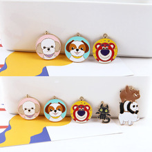 4 pcs 2019 hot sale alloy cute kittens bears puppy pattern round pendant cartoon earrings for women diy jewelry accessories