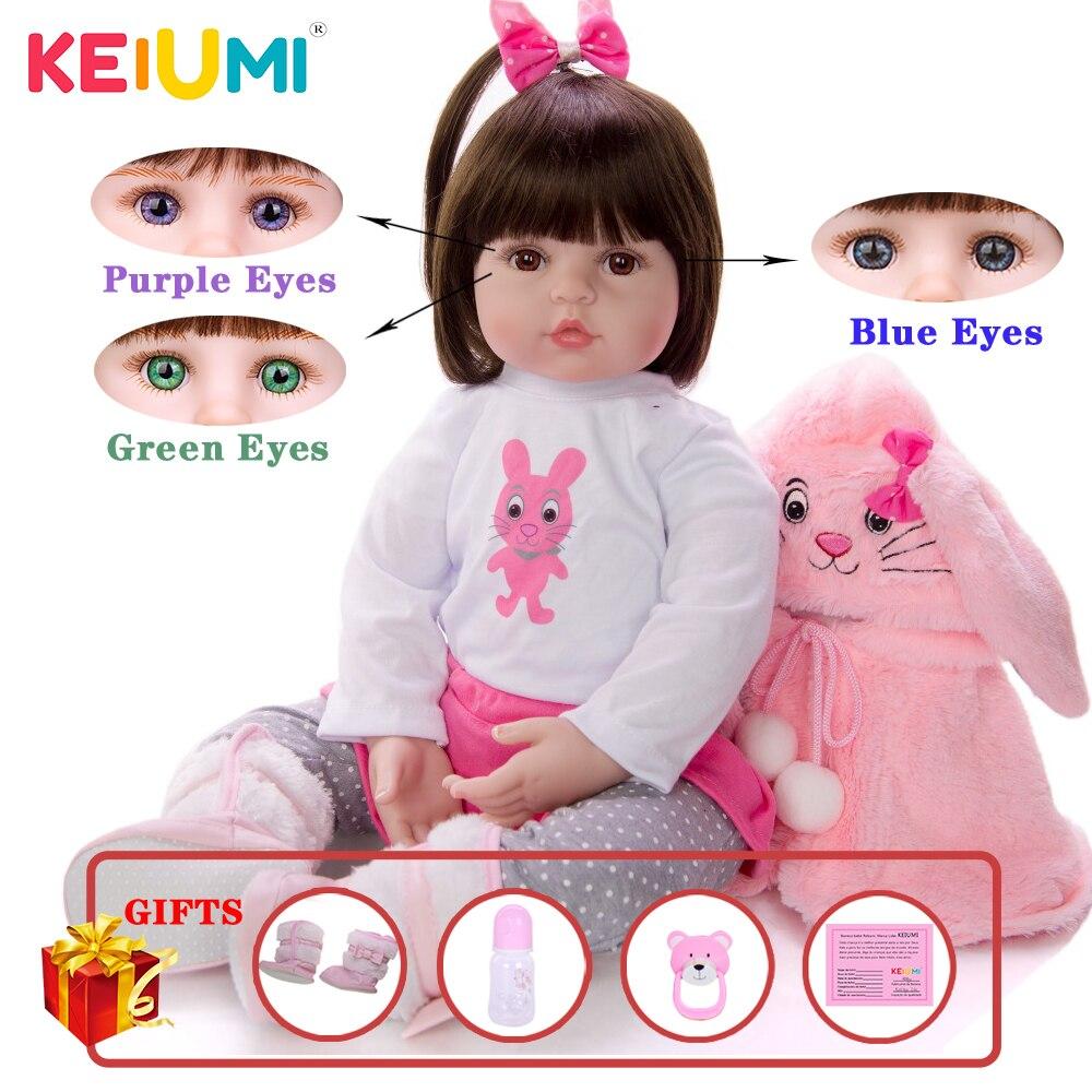 KEIUMI Soft Silicone Realistic Baby Dolls Fashion Princess Girl Doll Baby Reborn Toys Cosplay Rabbit Toddler Birthday Gifts(China)