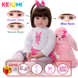 KEIUMI Soft Silicone Realistic Baby Dolls Fashion Princess Girl Doll Baby Reborn Toys Cosplay Rabbit Toddler Birthday Gifts(China)