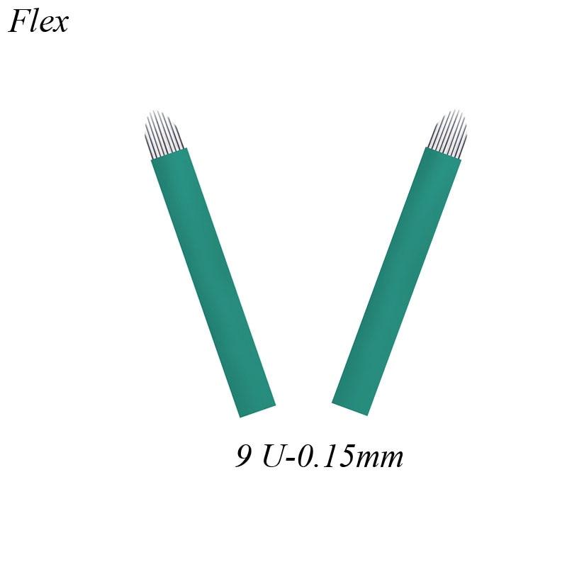 50pcs Microblading Needles Nano 9 U Shape 0.15mm Eyebrow Tattoo Needles Microblades Makeup Pins