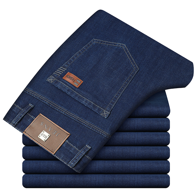 2020 New Business Fashion Stretch Denim Classic Style Men's  Regular Fit Stragith Jeans Jean Trousers Male Pants Blue And Black 6