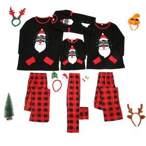 Newborn Baby Christmas Cartoon Pajamas Plaid Family Matching Romper Jumpsuit Children's parent-child outfit pijama navidad
