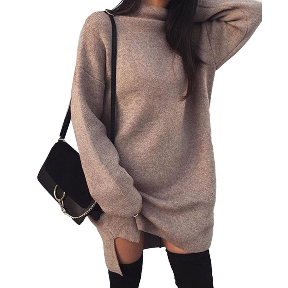 Winter Women Solid Color Loose Turtleneck Long Sleeve Warm Knitted Sweater Dress High Neck Loose Knit Split Dress Sweater
