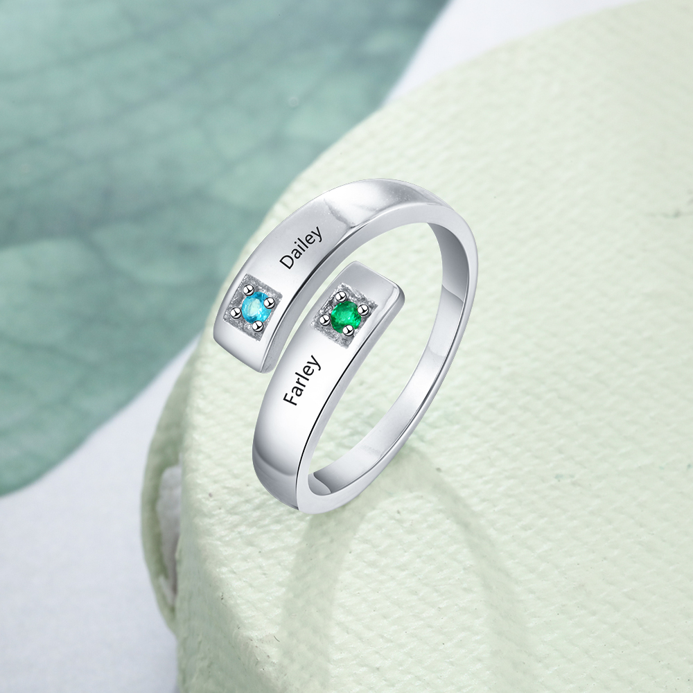 925 Sterling Silver Personalized Mothers Rings With 2 Birthstones Engraved Name Rings For Women Customized Jewelry Gift