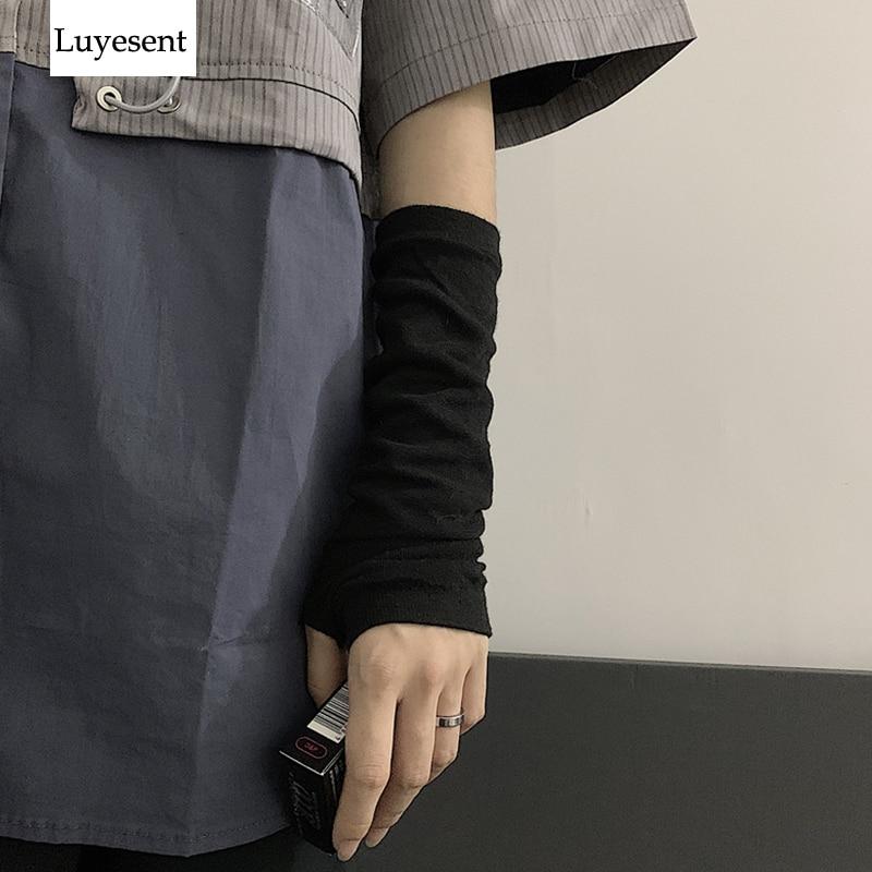 Black Punk Gothic Unisex Fingerless Gloves Cuff Women Men Ninja Sport Outdoor Elbow Length Mittens 2019 Cool Stretch Arm Warmer