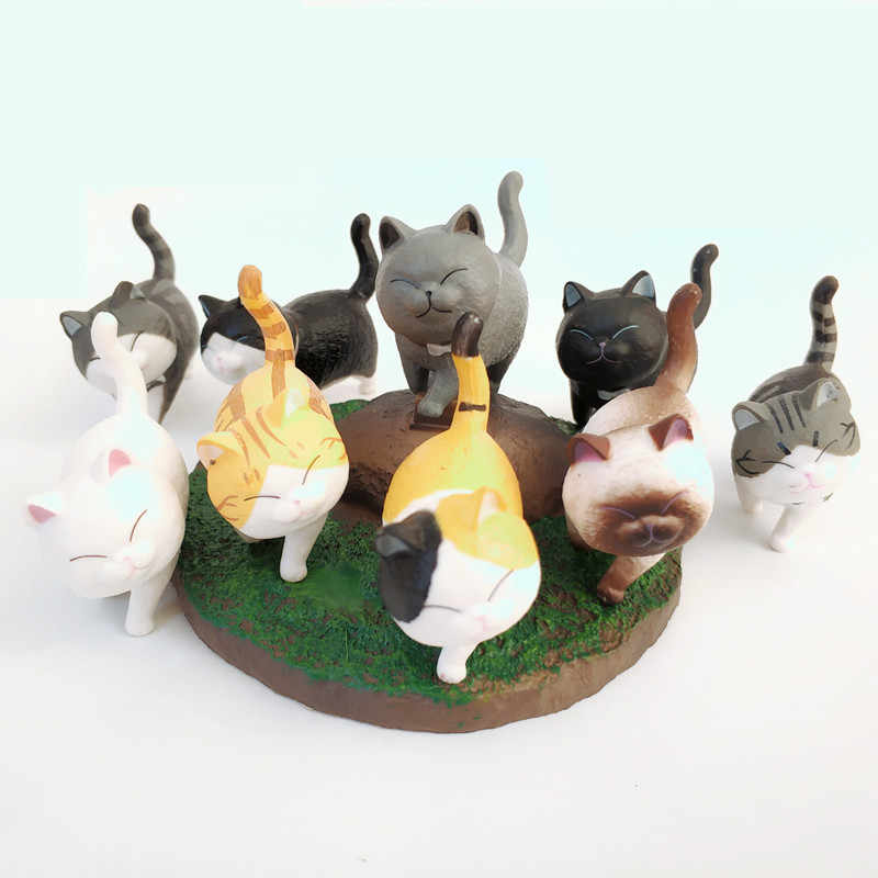 1Pcs Cute Mini PVC Animasi Model Cat Doll Figure Toy Kreatif Individualitas Kerajinan Hiasan Dashboard Balkon Dekorasi