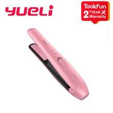 Nouveau Yueli sans fil Mini fers à défriser les cheveux plat fer à friser portable conseil deux mode batterie Rechargeable protection sûre