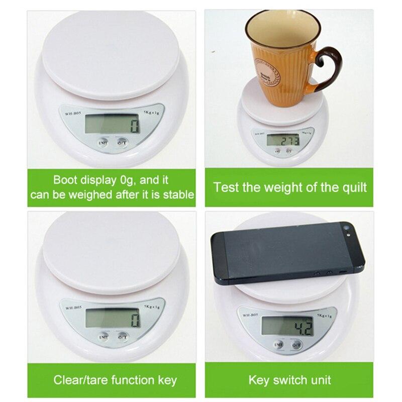 Портативные цифровые весы 5 кг/1 г, пищевые, диетические, кухонные, светодиодный электронный измерительные весы, кухонные весы для выпечки и приготовления пищи-5
