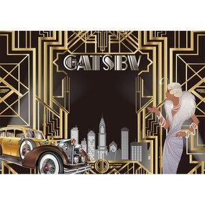 Image 3 - Funnytree Gatsby Vĩ Đại Trang Trí Phông Nền Chụp Ảnh Sweet 16 Đảng 18 Sinh Nhật Vàng Và Đen Sang Trọng Hình Nền Photozone