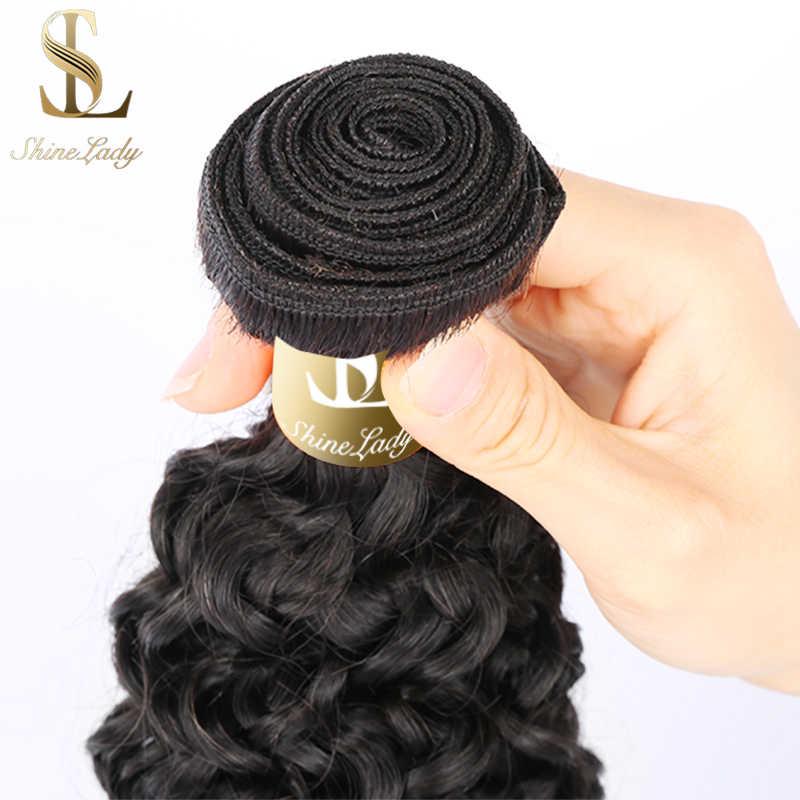 Shinelady 1/3/4 Viên Jerry Xoăn Tóc Bó 12-30 Inch Màu Tự Nhiên Remy Con Người Làm Tóc Brasil tóc Dệt Lưng