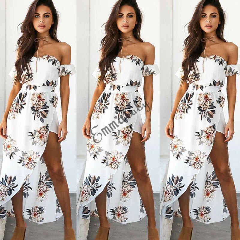 Damen Sommer Boho Blumen Lang Kleider Maxikleid Party Abend Strandkleid Hochzeit