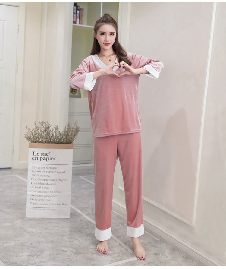 Girls Gold Velvet Pajamas Sets Women Autumn Winter Long Sleeve V-Neck Velour Pyjama Suit Warm Sleepwear Homewear Home Clothes 79