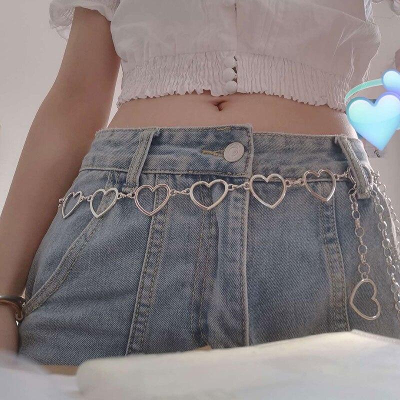 Circle Chain Belt Women Fashion Heart Shaped Metal Waist Chain Gold Silver Heart Round Chain Cool Girls Waistband Accessories