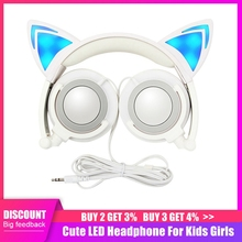 LED Glowing Cat Ear Headphones Children Gaming Over Ear Stereo Headphones 3.5mm Jack Universal For Mobile Phone Computer Gifts