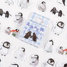 46 pçs/caixa feliz pequeno pinguim decorativo papelaria mini adesivos conjunto scrapbooking diy diário álbum vara lable