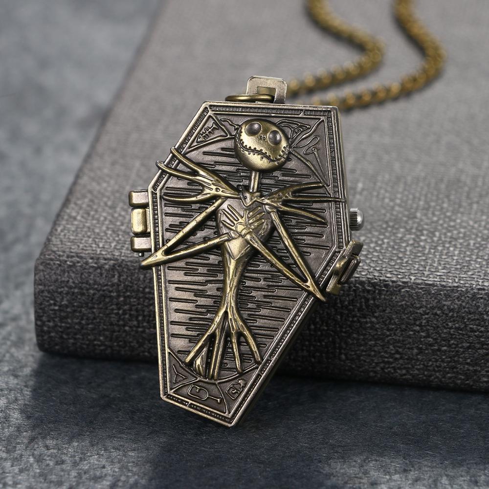 BONISKISS The Nightmare Before Christmas Pocket Watch Jack Skellington Skull Skeleton Quartz Pocket Watch FOB Chain Men Gifts