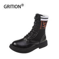 GRITION Women Martin Camping Boots Winter Outdoor Splice High Footwear Non slip Mountain Hiking Sneakers Climbing 2019 New Shoes