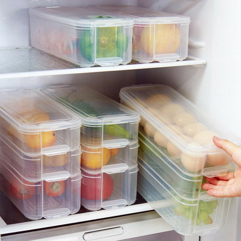 1/2/3 Layers Portable Food Storage Box Can Fridge Food Preservation Organizer Vegetable Fruit Clear Rectangle  Boxes Holder