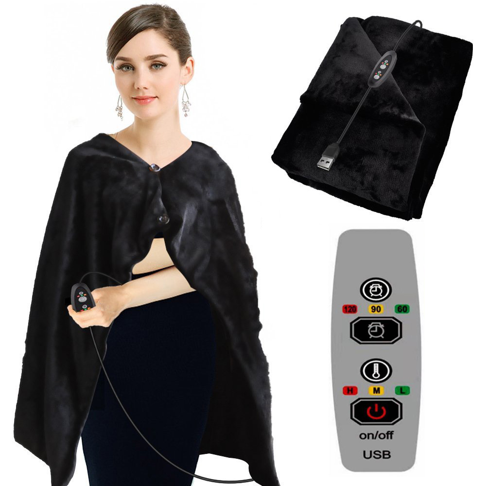 USB Car Home Electric Warming Heating Blanket Pad Shoulder Neck Mobile Heating Shawl USB Soft 5V 4W Winter Warm Health Car