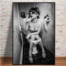 Moderno sexy mulher arte da parede pintura em tela preto e branco beber e fumar beleza menina poster imprime toalete bar decoração de casa