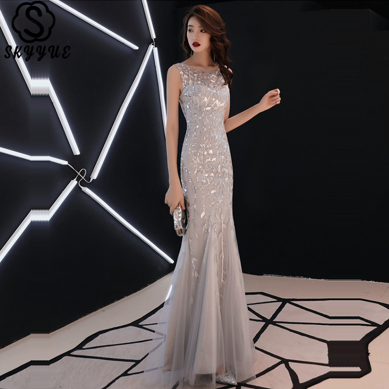 Skyyue Evening Dress Sleeveless Embroidery Sequined Robe De Soiree O-Neck Solid Mermaid Plus Size Eveing Gown E047