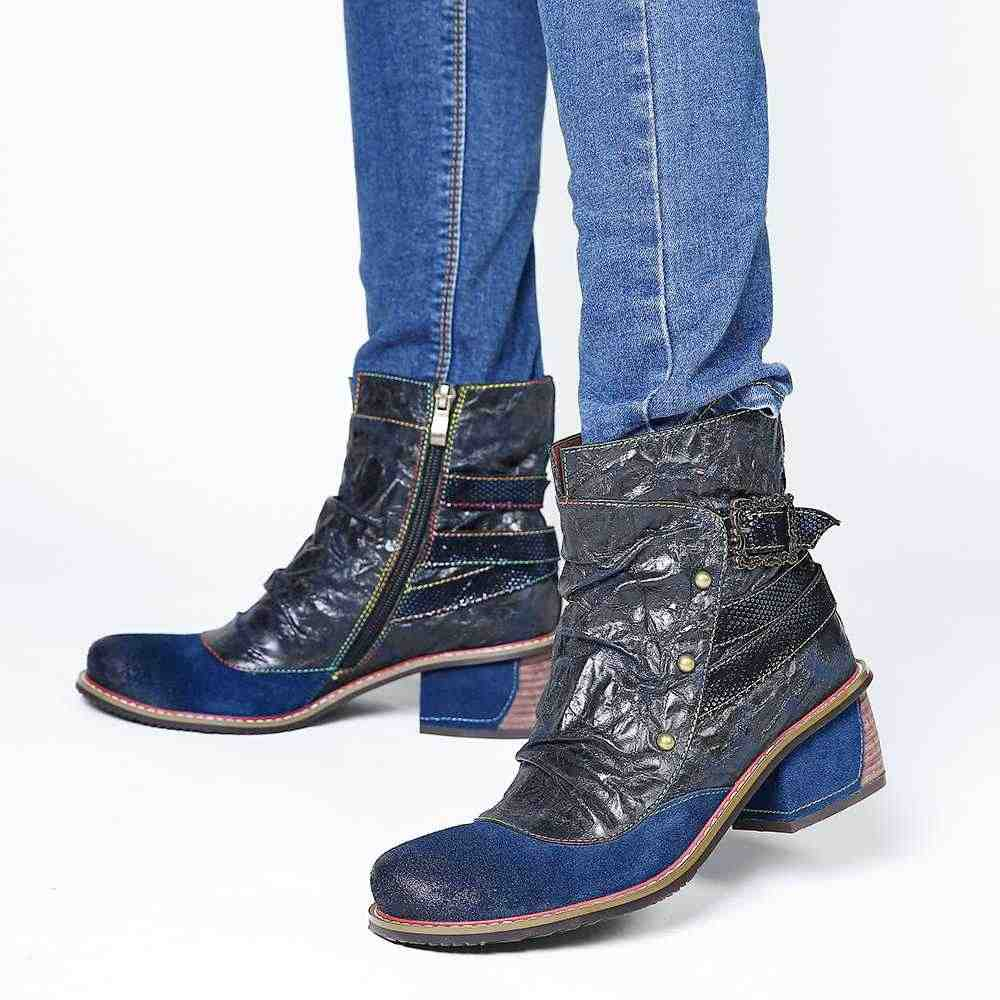 Socofy botas femininas de couro genuíno colorido costura rebite zíper salto baixo senhoras curtas botas sapatos femininos botas mujer 2020
