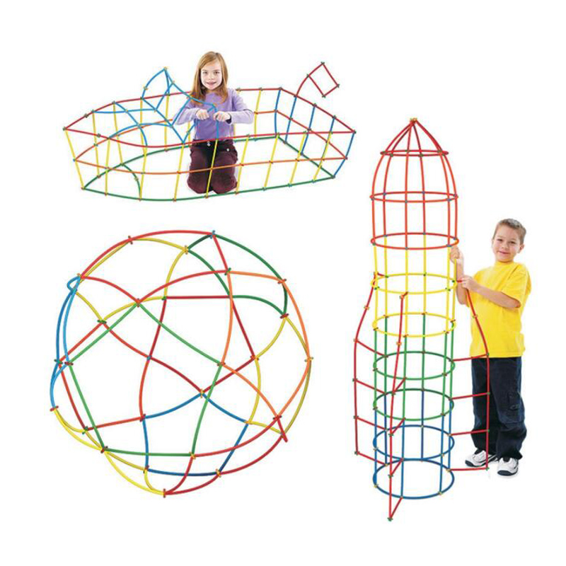 100Pcs Straw Interconnecting Blocks Kid Toy Building Construction Toys Diy Assembly Models Spatial Thinking Game For Children