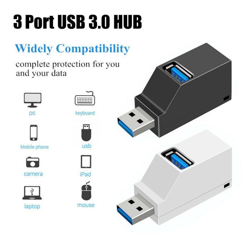 Mini 3 Ports USB 2.0/3.0 Splitter Hub High Speed 