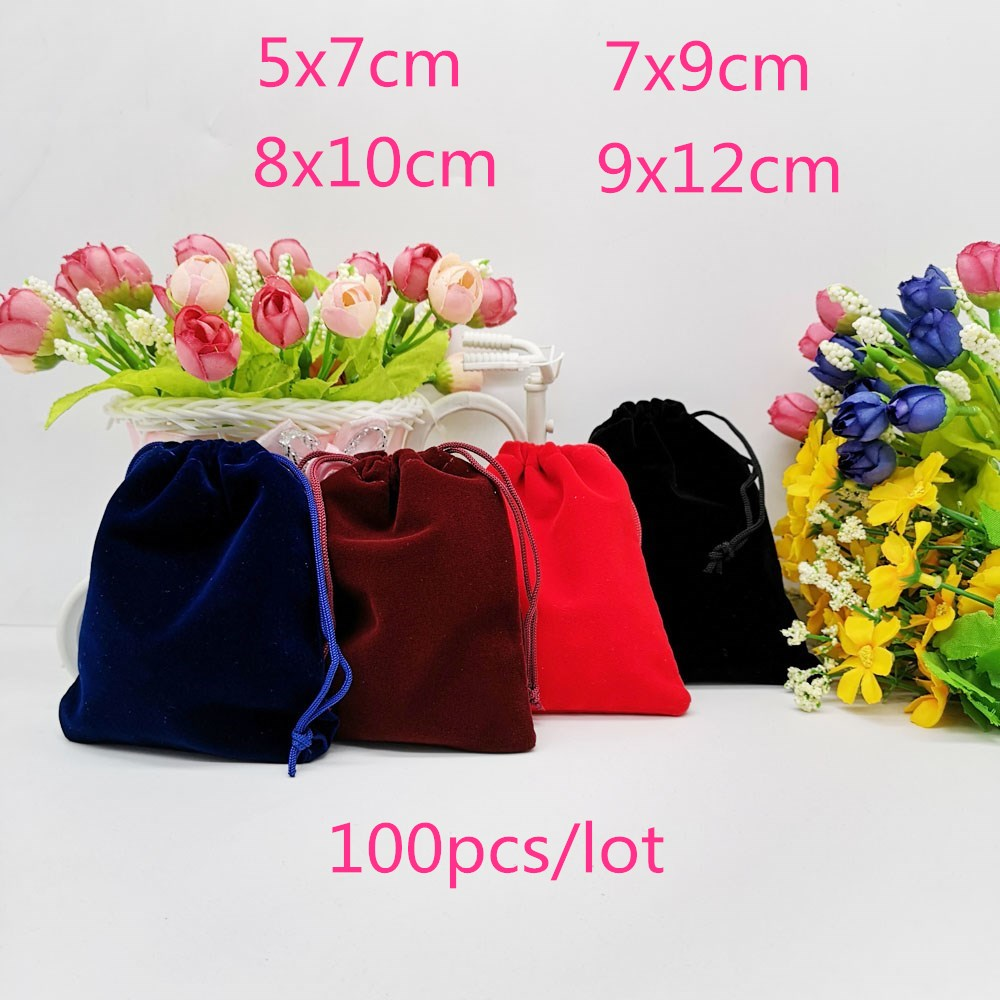 100pcs Velvet Pouch Jewelry Packaging Bag Velvet Bag Drawstring Jewellery Bag Pouches Jewelry Packaging For Jewelry Pouch 9x12cm
