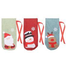 Прекрасный чехол для бутылки вина, Рождество, старый человек, снеговик, рисунок лося, матовая ткань для новогодних, вечерние, украшения для домашнего стола