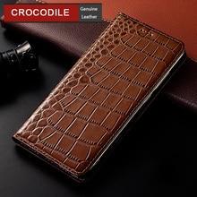Crocodile Genuine Leather Case For XiaoMi Redmi Note 10 3 4 4X 5 5a 6 7 8 8T 9 9T 10 Pro Luxury Flip Leather Cover