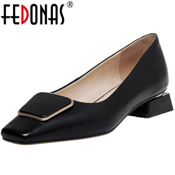 FEDONAS Fashion Women Spring Summer Prom Party Pumps Metal Decoration Square Toe Elegant Shoes Genuine Leather New Shoes Woman