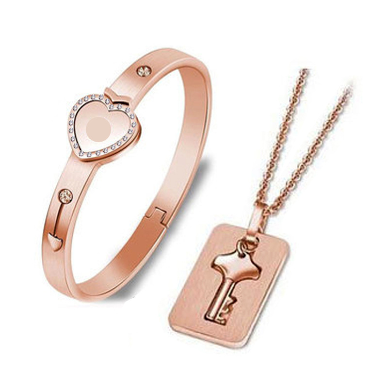Fashion Concentric Lock Key Titanium Steel Stainless Steel Jewelry Bracelet Necklace Couple Sets