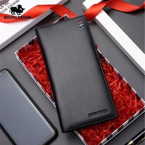 Image 1 - BISON DENIM 2017 Ultra Thin Cow Genuine Leather Wallet Mens Luxury Long Clutch Black Card Slot Money Bag Male Purse N4391 4B
