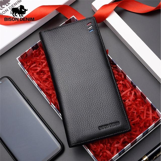 BISON DENIM 2017 Ultra Thin Cow Genuine Leather Wallet Mens Luxury Long Clutch Black Card Slot Money Bag Male Purse N4391 4B