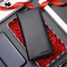 Мужской тонкий бумажник BISON DENIM, черный роскошный длинный клатч из натуральной кожи, кошелек с отделением для карт и денег,