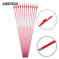 6/12pcs Archery Spine 600 Pure Carbon Arrow Pink Woman Arrow Shaft Compound/Recurve Bow Shooting Sports Hunting Accessories