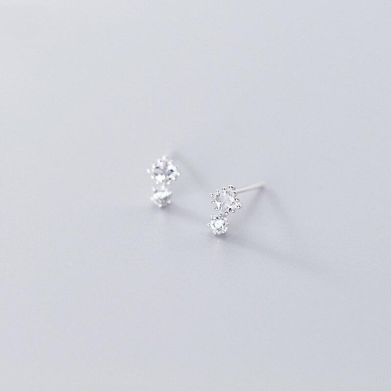 Trustdavis Authentic Minimalist 925 Sterling Silver Mini Lovely White CZ Stud Earrings For Women Sterling Silver Jewelry DA941
