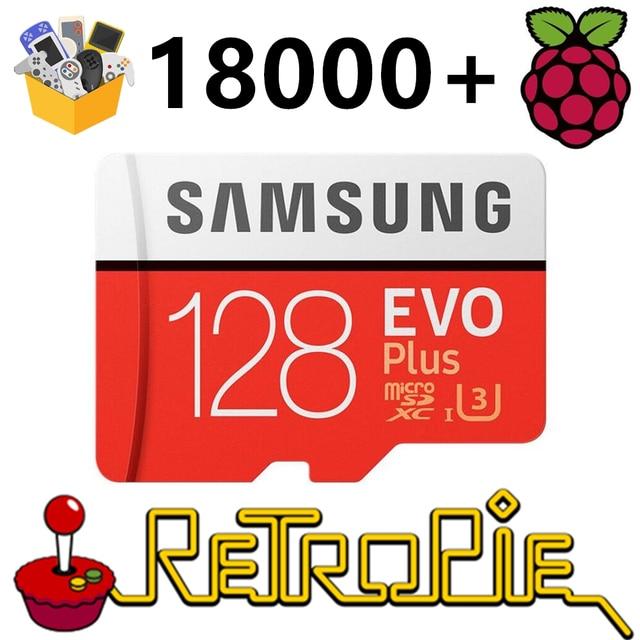 RetroPie – carte SD 128 go pour Raspberry Pi 3 B + 18000 + jeux, 30 + systèmes, Diyable, Station démulation, jeux préinstallés, Plug & Play