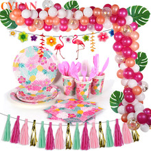Flamingo Party Tableware Palm Leaf Pineapple Napkins Balloon Garlands Tropical Hawaiian Party Favors Happy Birthday Decorations pineapple party decorations pineapple cups balloons hawaii tropical party summer flamingo party luau wedding decor palm leaf
