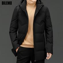 High End New Brand Casual Fashion Windbreaker Long 90% Mens Duck Down Jacket With Hood Black Puffer Coats Winter Mens Clothes