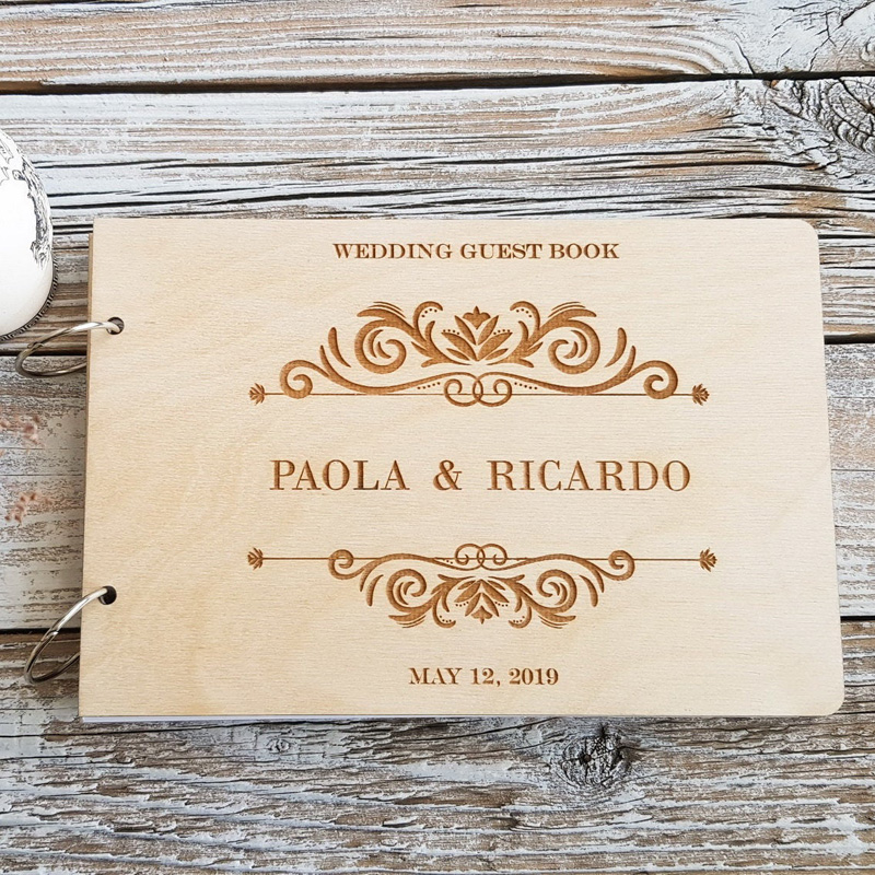 Engraved Modern Wedding Guest Book Personalized Custom Guest Book Husband And Wife Wedding Guest Book Wooden Photo Album Signature Guest Books Aliexpress