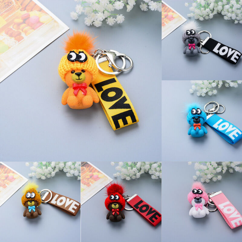 Unisex Gift Boy Girl Lady Key Chains New Trendy Cute Teddy Bear LOVE Print Key Cover Cap Keychain Silicone Key Ring