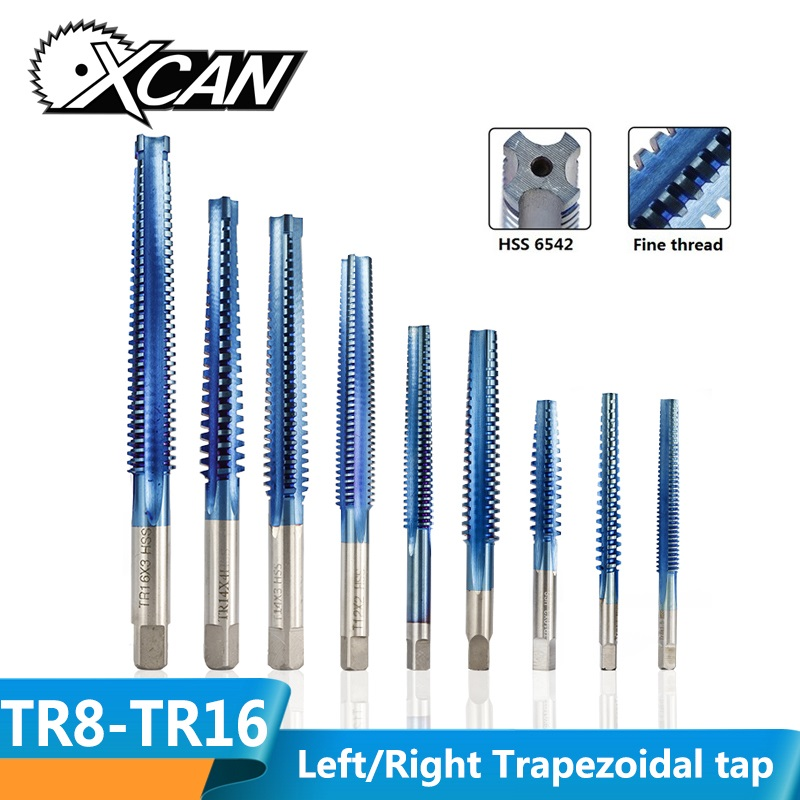XCAN 1pc TR8-TR20 Left/Right Hand Trapezoidal Tap HSS6542 Nano Blue Coated Metric Thread Tap Metal Screw Hole Drilling Tap Drill