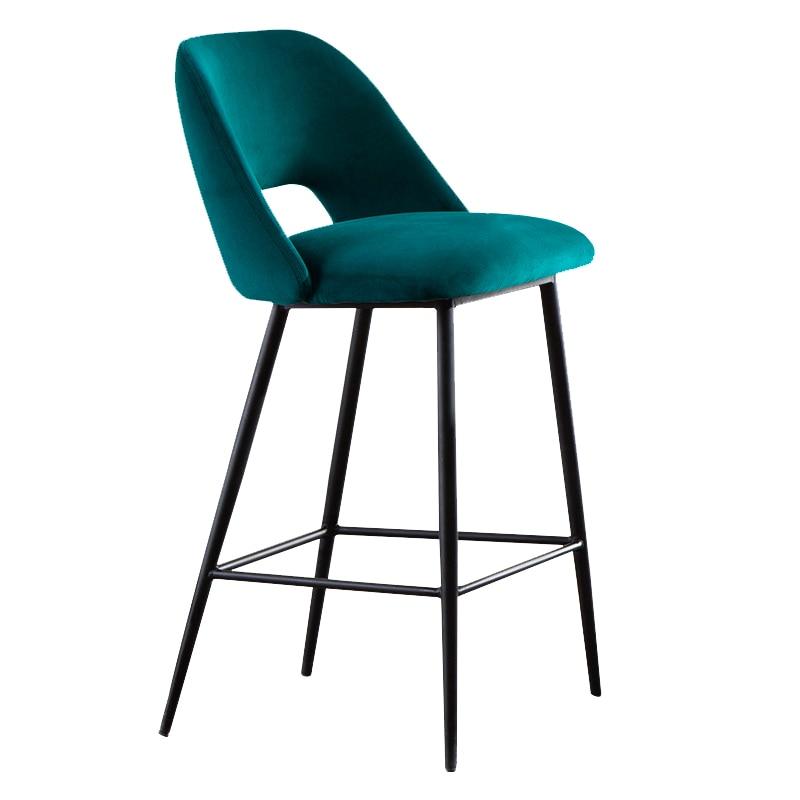 Bar Chair Modern Simple Metal High Foot Front Desk Chair Bar Stool Household Soft Bag Loft Designer Creative Bar Chair