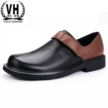 big size mens shoes High Quality Genuine Leather thick bottom round head business casual shoes men cowhide spring autumn winter cheap Vogu Homme Cow Leather Rubber 20190802 Basic Lace-Up Solid Spring Autumn Adult Fits true to size take your normal size