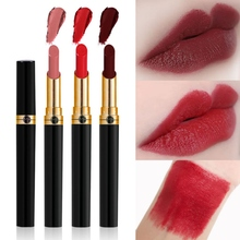 Fine Tube Velvet Matte Lipstick Waterproof Non-stick Cup Colorfast Easy To Color 12 Colors