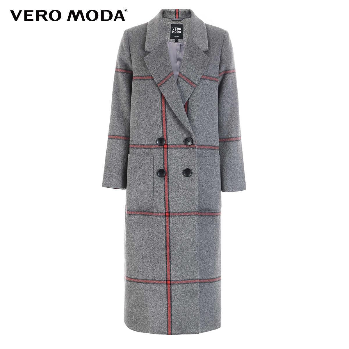 Vero Moda Women's New 61% Wool Colorblock Buttoned Plaid Wool Coat | 318327513