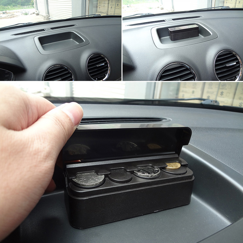 Black Plastic Car Orginazer Universal Coin Case Storage Box Holder Container Car Styling Car Coin Holder